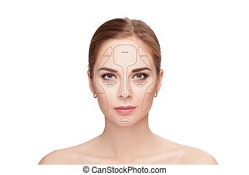 Contouring. Make up woman face on white background.  Professiona