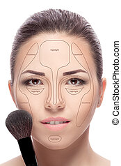 Contouring. Make up woman face.