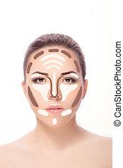 Contouring.Make up woman face.