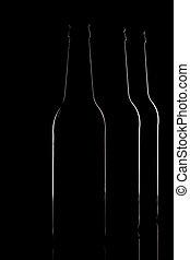 Contours of dark beer bottles