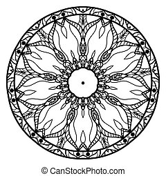 Contours of the mandala on a white background. Suitable for use in coloring.