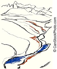 Contours of the mountains engraving vector illustration, hand drawn, sketch