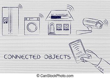 contrôlé, appareils, objets, connecté, maison, smartphone, ...