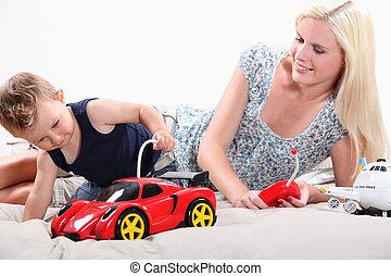 contrôlé, voiture, sports, maman, éloigné, enfantqui...