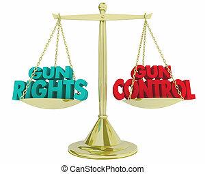 contrôle, échelle, peser, droits, fusil, légal, vs, illustration, lois, 3d