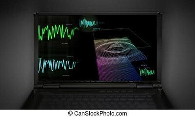 contrôle, écran, audio, vague