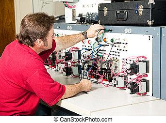 contrôle, électrique, ingénierie, -, moteur