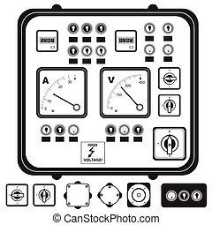 contrôle, électrique, panneau