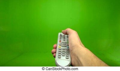 contrôle, éloigné, écran tv, pousser, main, closeup, vert, mâle