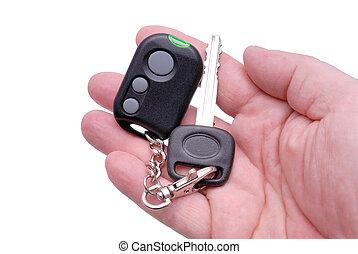 contrôle, éloigné, clés, alarme voiture, système