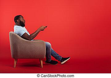 contrôle, éloigné, maison, changements, canal, rouges, téléspectateur, fond, chaise