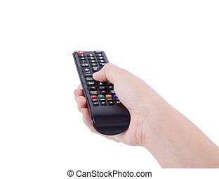 contrôle, éloigné, tv, isolé, main, blanc