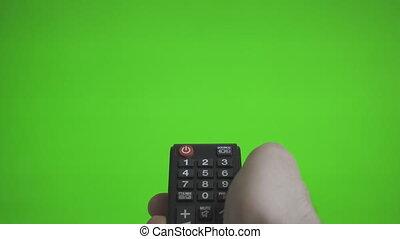 contrôle, éloigné, tv, virages, sur, screen., main, advertisement., vert, endroit, mâle, ton