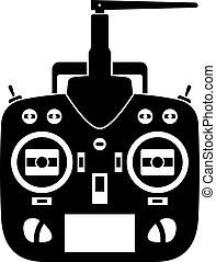 contrôle, émetteur, éloigné, vecteur, noir, rc, icône