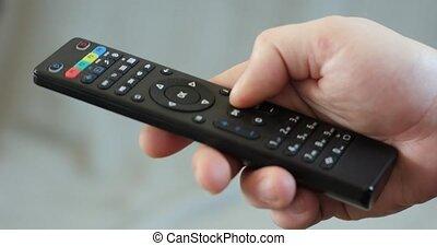 contrôle, équipe, éloigné, tv, haut, main, canaux, tenir fermeture, changer