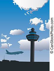 contrôle, aéroport, tour