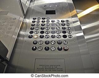 contrôle, ascenseur, panneau