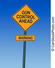 contrôle, avertissement, fusil, devant, signe
