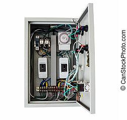 contrôle, boîte, coupure, isolé, électrique, blanc, path.