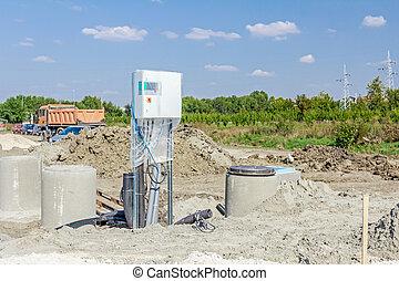 contrôle, boîte, résident, canaux transmission, system., cabinet, eau, béton, manhole, cylindrique, drainage, sanitaire, gaspillage, égout