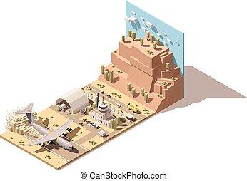 contrôle, cargaison, isométrique, vecteur, atterrissage, bâtiment, camions, tour, humanitaire, aéroport, poly, piste atterrissage, terminal, boîtes, forklifts, bas, poussière, avion, désert, déchargement, hangar