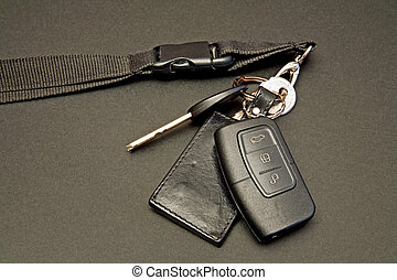 contrôle, clés, ensemble, éloigné, voiture