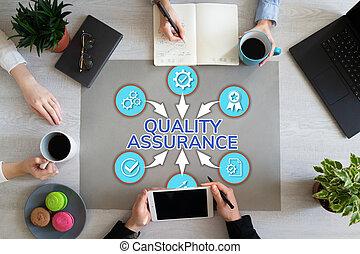 contrôle, client, concept, bureau, service, satisfaction, assurance, qualité, desktop., garantie
