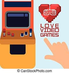 contrôle, coeur, amour, arcade, jeux visuels
