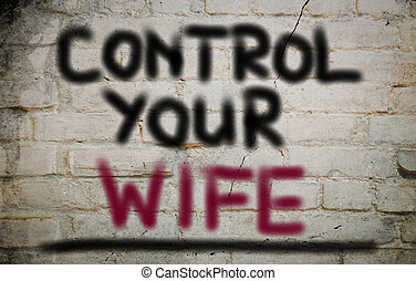 contrôle, concept, ton, épouse