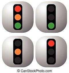 contrôle, conduite, lumière, icônes, lampe, transport, –, ...