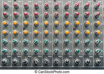 contrôle, console mélange, détails