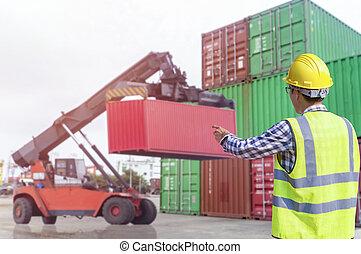 contrôle, contremaître, cargaison chargement, boîte, ship., fret, récipients