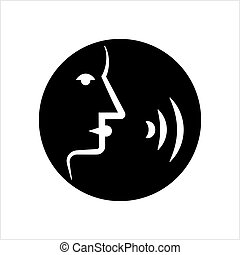 contrôle, conversation, commande, icône, voix, icône