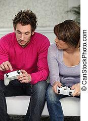 contrôle, couple, console