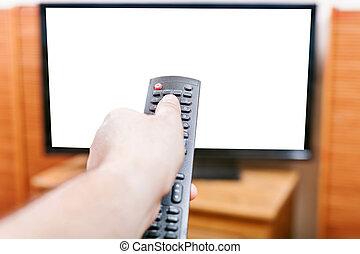 contrôle, coupure, éloigné, écran tv, virage, dehors