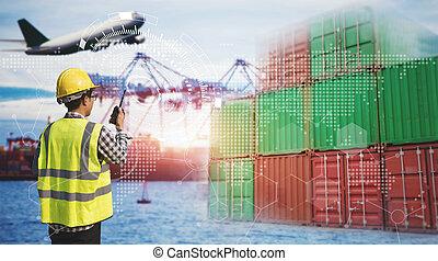 contrôle, crépuscule, fonctionnement, logistique, transport, bateau, pont, chantier naval, concept, récipient, logistique, homme, fret, grue, cargaison, ingénierie