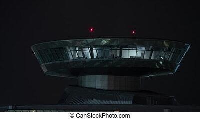 contrôle, défaillance, nuit, lumières, aéroport, temps, tour, rouges
