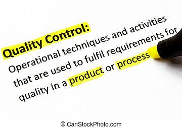 contrôle, définition, qualité