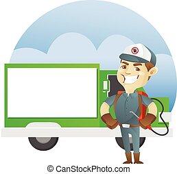 contrôle, debout, service, exterminateur, casse-pieds, devant, camion