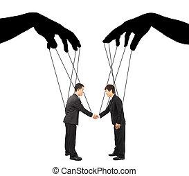 contrôle, deux, actions, noir, mains, homme affaires, ombre