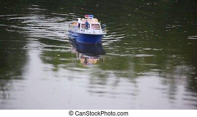 contrôle, eau, courant, radio, modèle, bateau