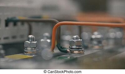 contrôle, electical, pneumatique, puissance, constructeur, câble, tournevis, plante, électricien, ingénieurs, feeds., écrou, cabinet, serrer, fusible, électrique, boîte, travail, installation, box., intérieur, inspecter