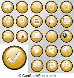 contrôle, encart, bouton, or, icônes