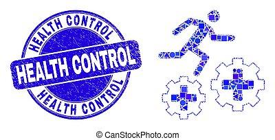 contrôle, engrenages, mosaïque, santé, bleu, patient, cachet, grunge, courant