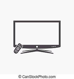 contrôle, extérieur tv, intelligent, icône