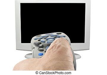 contrôle, extérieur tv, main