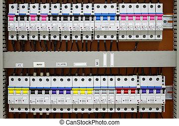 contrôle, f, énergie, -, mètres, statique, circuit-breakers...