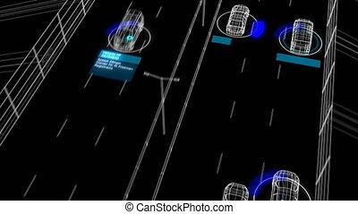 contrôle, fait boucle, processus, résumé, analyser, 3840x2160., fonctionnement, conducteurs, système, surveillance, seamless., animation, identification, 4k, autoroute, 3d, voitures, illustration, hd, route, ultra, futuriste