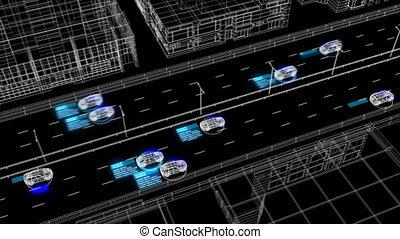 contrôle, fait boucle, processus, résumé, rue, analyser, 3840x2160., ville, fonctionnement, conducteurs, système, surveillance, seamless., animation, identification, 3d, voitures, illustration, hd, 4k, ultra, route