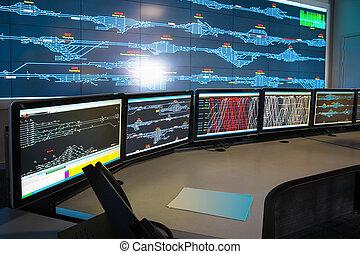 contrôle, ferroviaire, salle